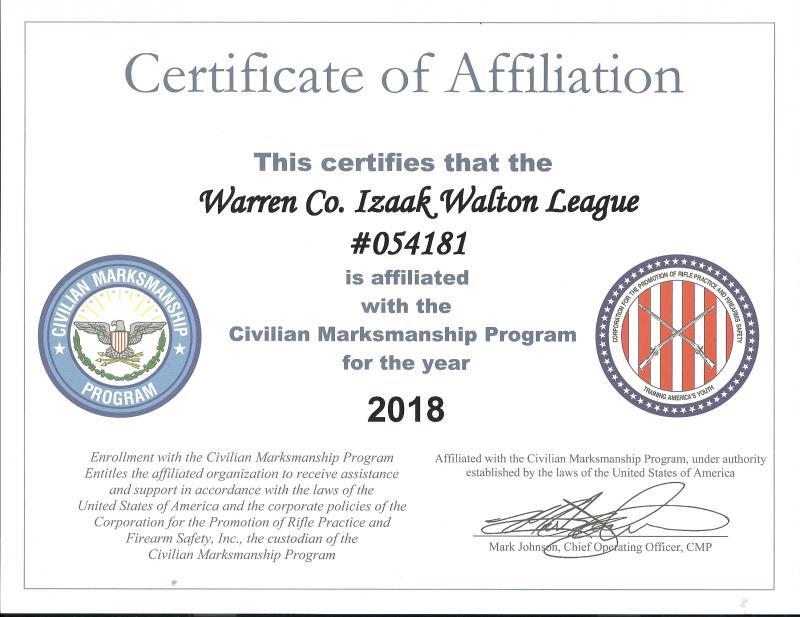 Warren County Izaak Walton League - CMP and NRA Affiliation